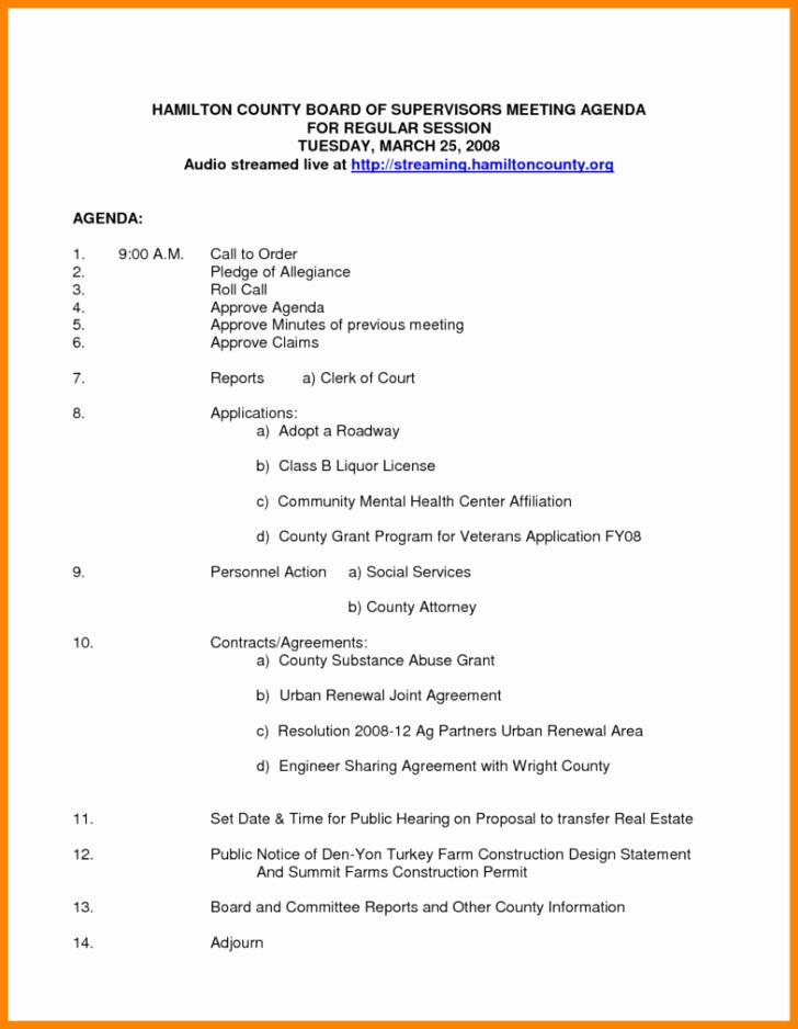Meeting Board Meeting Agenda Template