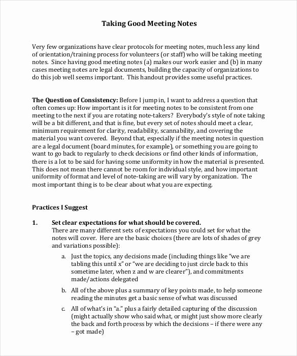 Meeting Notes Template 28 Free Word Pdf Documents
