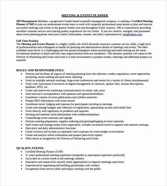 Meeting Planner Resume