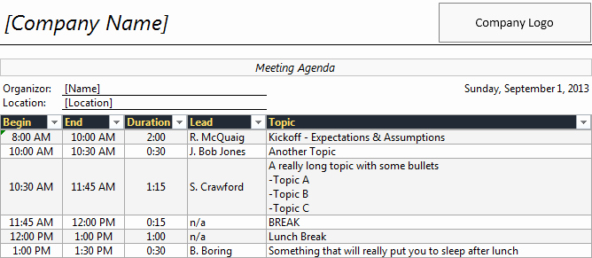 Meeting Planner Template Excel