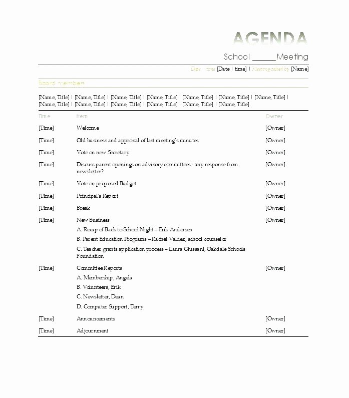 Meeting Planner Template Fresh formal Meeting Agenda