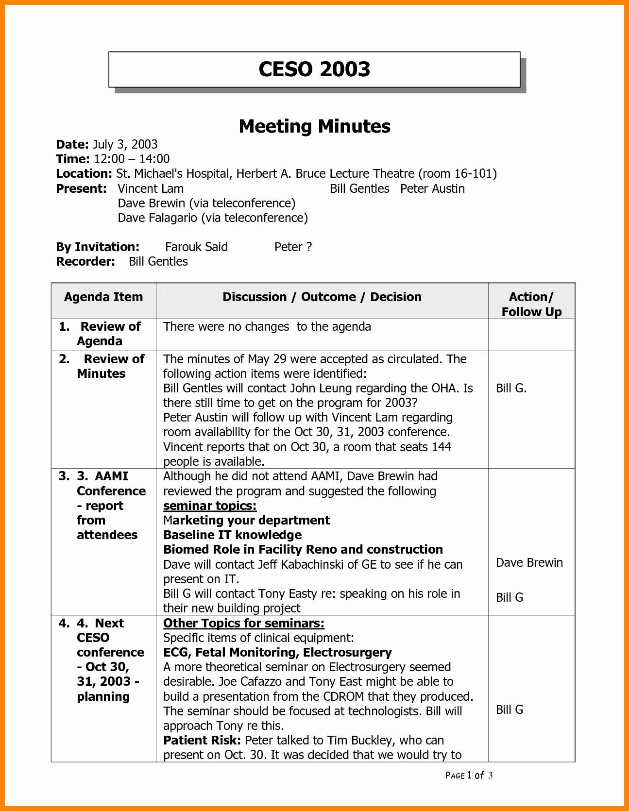 Meeting Sample Meeting Minutes Template