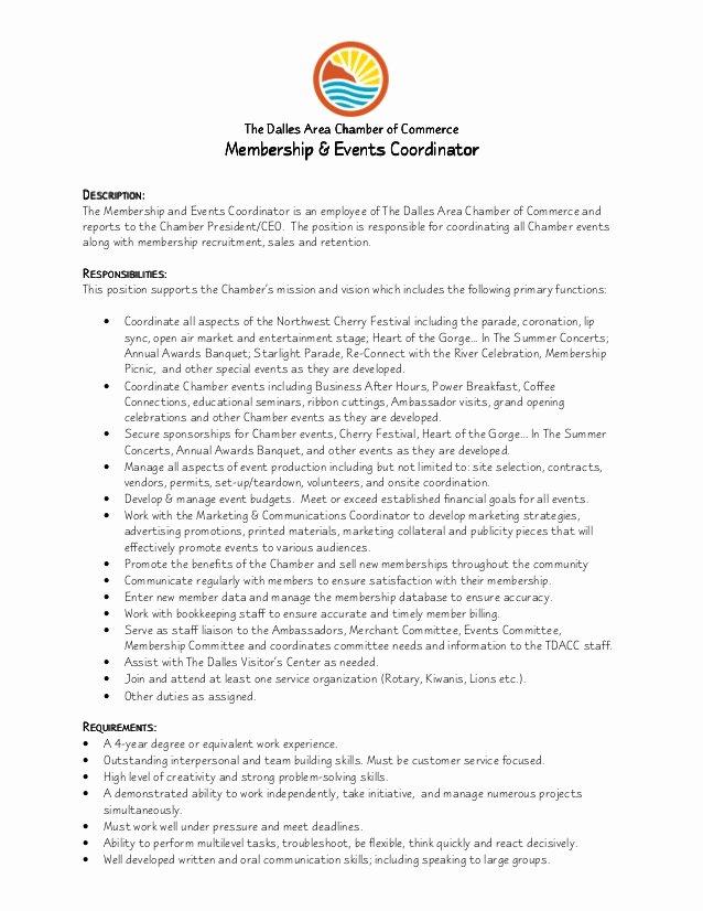 Membership & events Coordinator Job Description 8 1