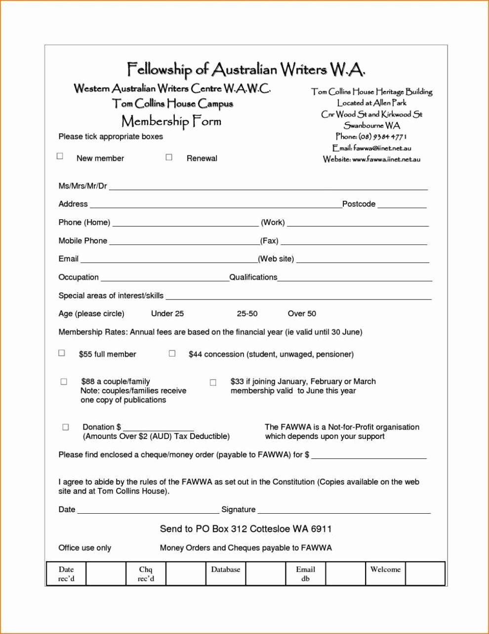Membership Application form Template Word Sampletemplatess Sampletemplatess