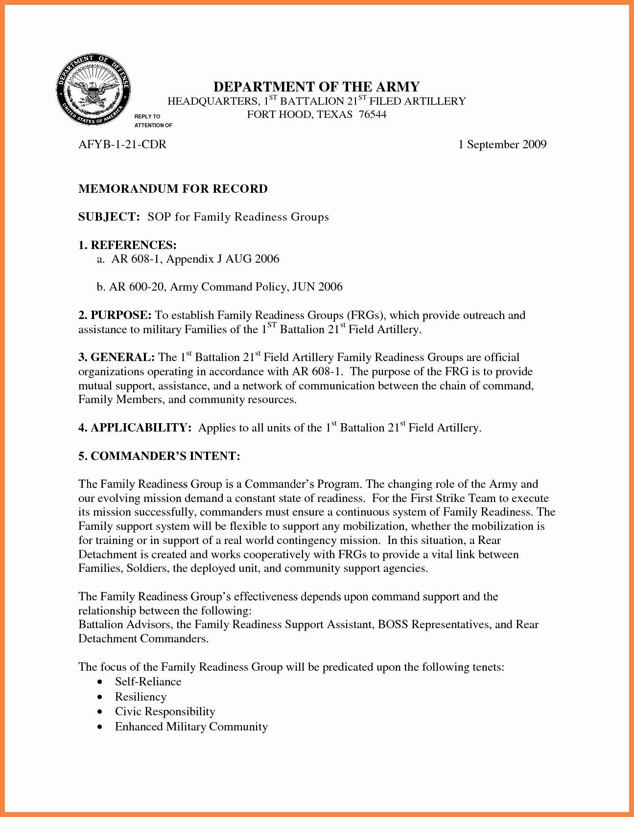 Memorandum format Army