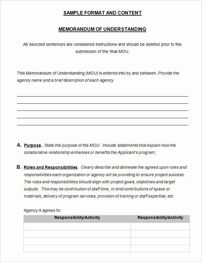 Memorandum Of Understanding Template 4 Free Word Pdf
