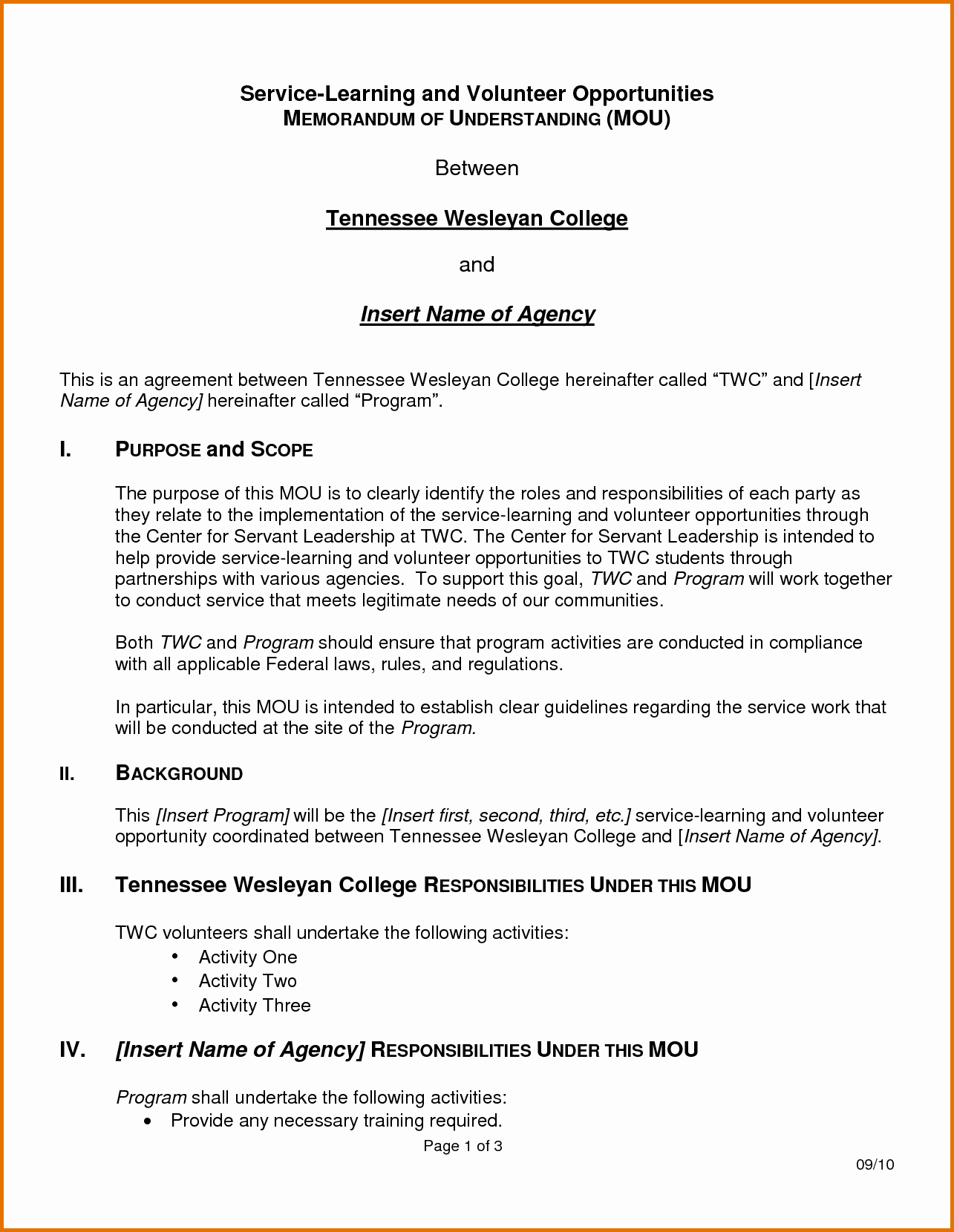 Memorandum Of Understanding Templatereference Letters