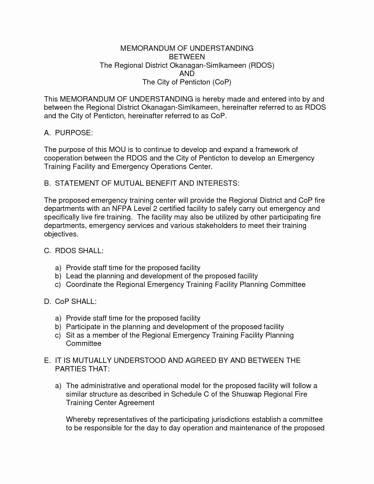Memorandum Understanding Template Word Beepmunk