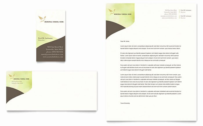 Memorial & Funeral Program Business Card & Letterhead