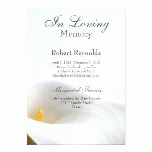 "Memorial Announcement 5"" X 7"" Invitation Card"