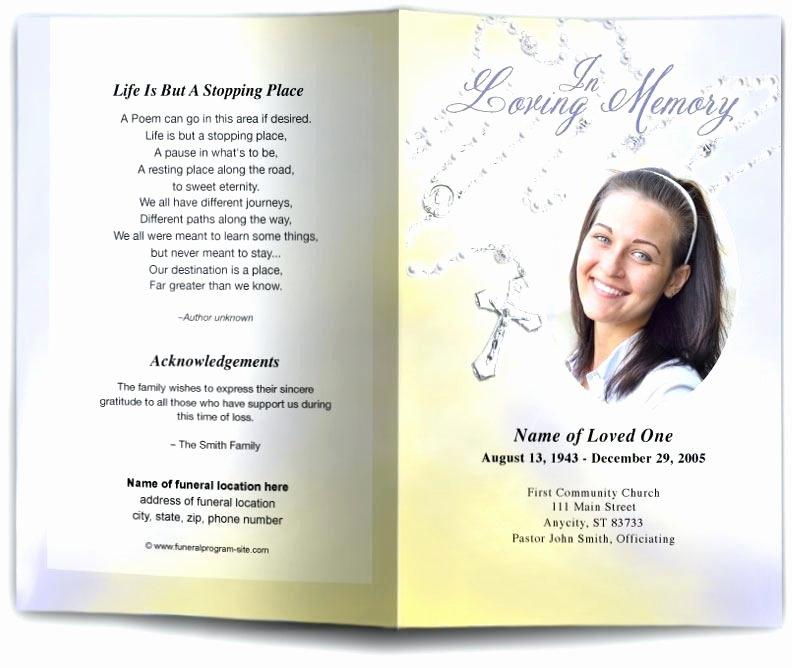 Memorial Book Template Rosary Beads Catholic Funeral