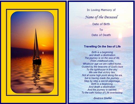 Memorial Cards Samples