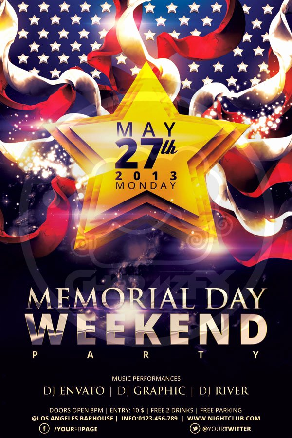 Memorial Day Flyer Template by Koza30 On Deviantart