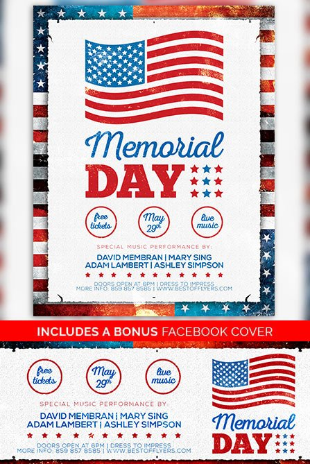 Memorial Day Free Poster Template Freebie for