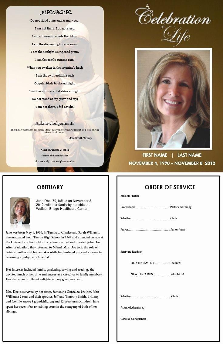 Memorial Folder Templates Free Templates Resume