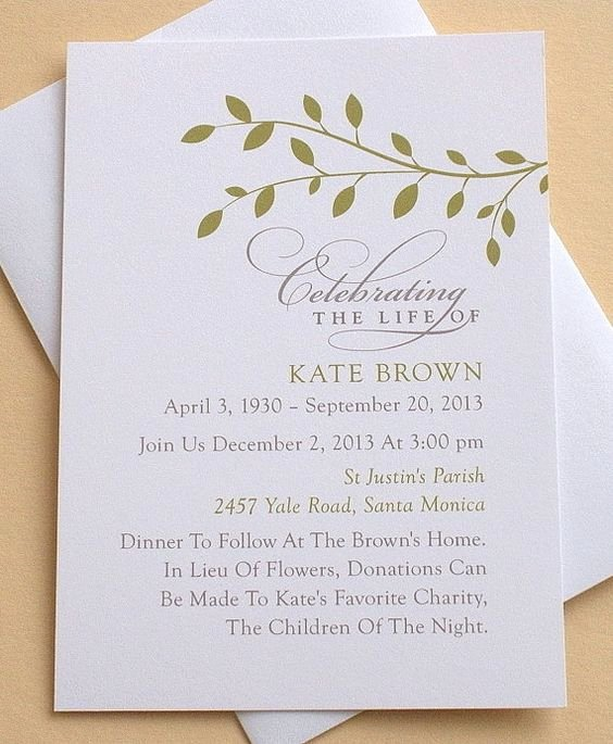 Memorial Invitation with Green Leaves Personalized