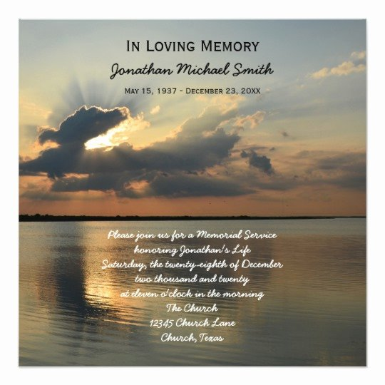 Memorial Service Announcement Invitation Sunset