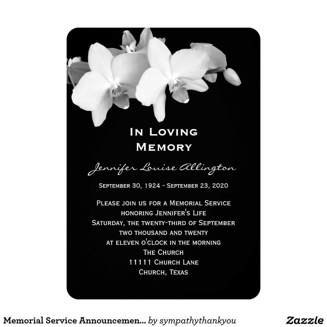 """Memorial Service Announcement orchids 5"""" X 7"""" Invitation"""