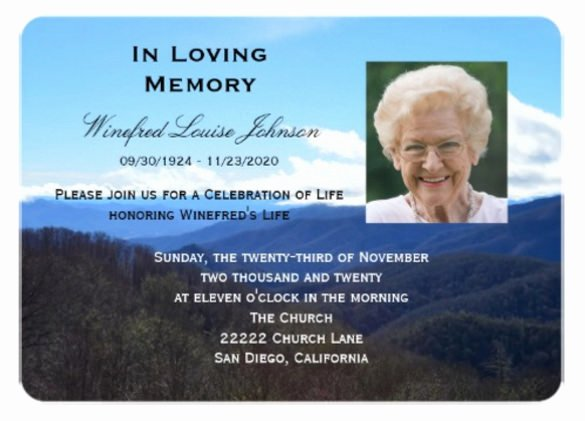 Memorial Service Announcement Template Free Templates