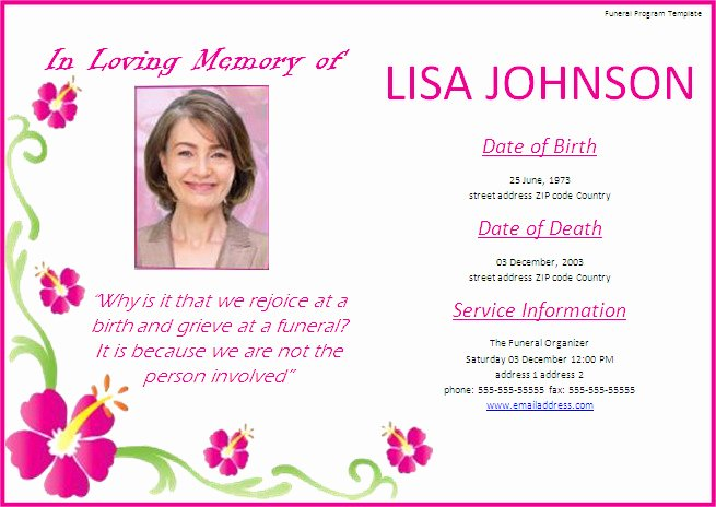 Memorial Service Brochure Template Free Templates