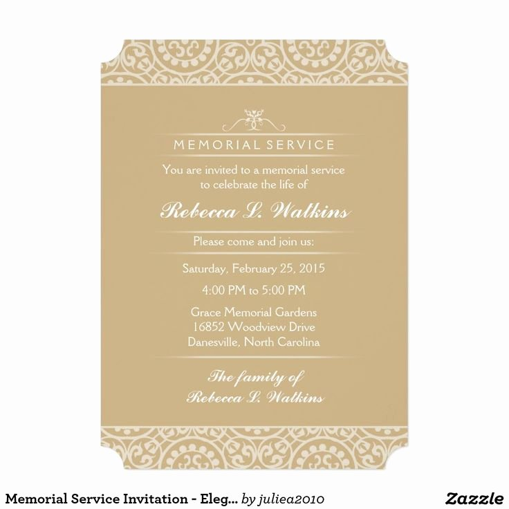 Memorial Service Invitation Elegant Gold & White