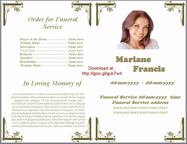 Memorial Service Programs Template Microsoft Fice Word