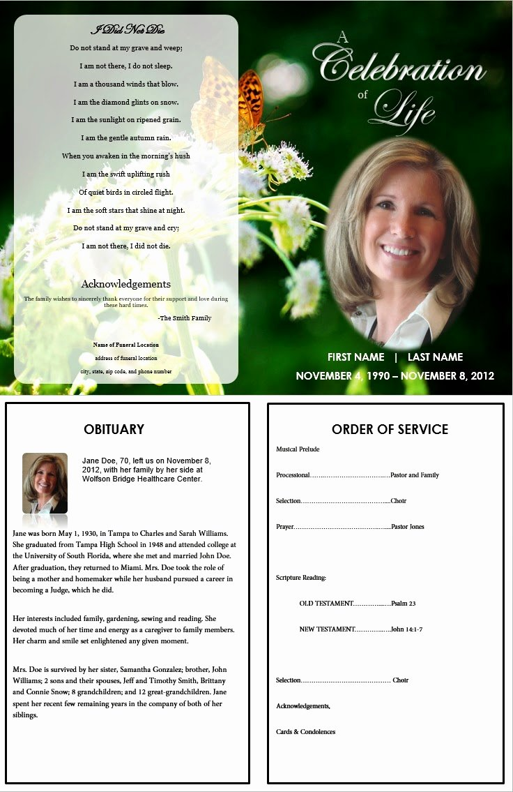 memorial service template invitation