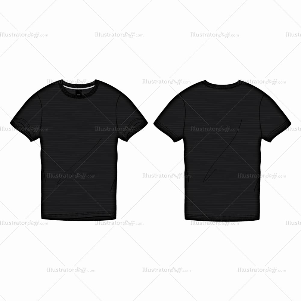 Men S Black Roundneck T Shirt Fashion Flat Template