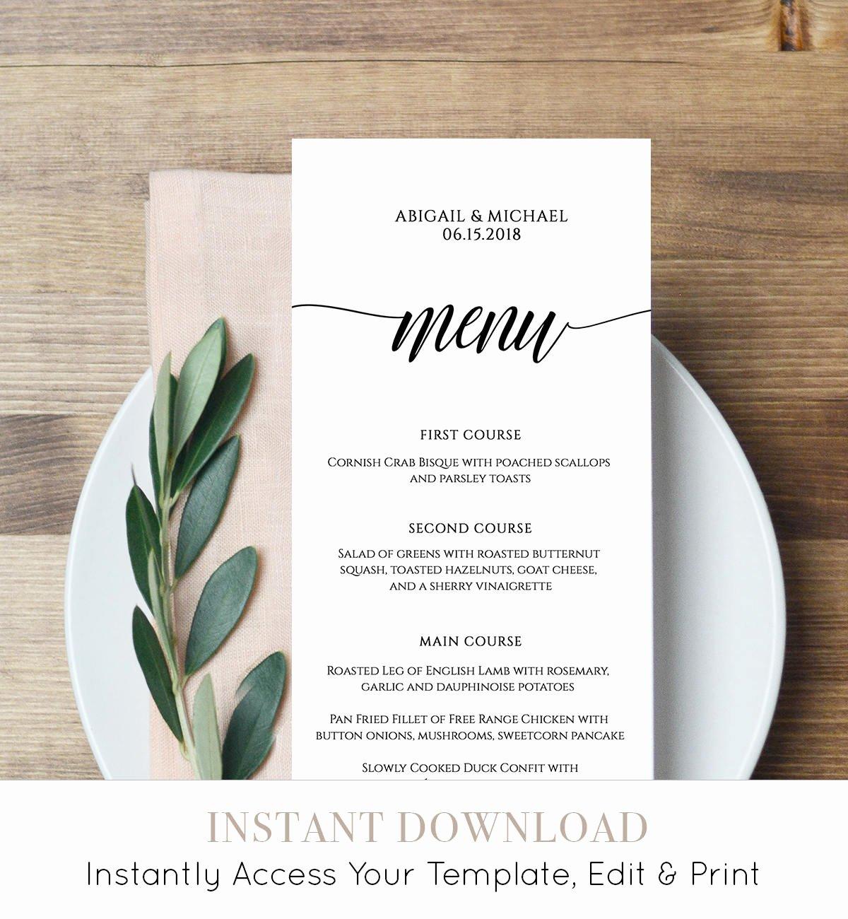 menu card template rustic dinner menu