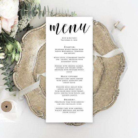 Menu Card Template Wedding Template Bridal Shower Menu Wedding
