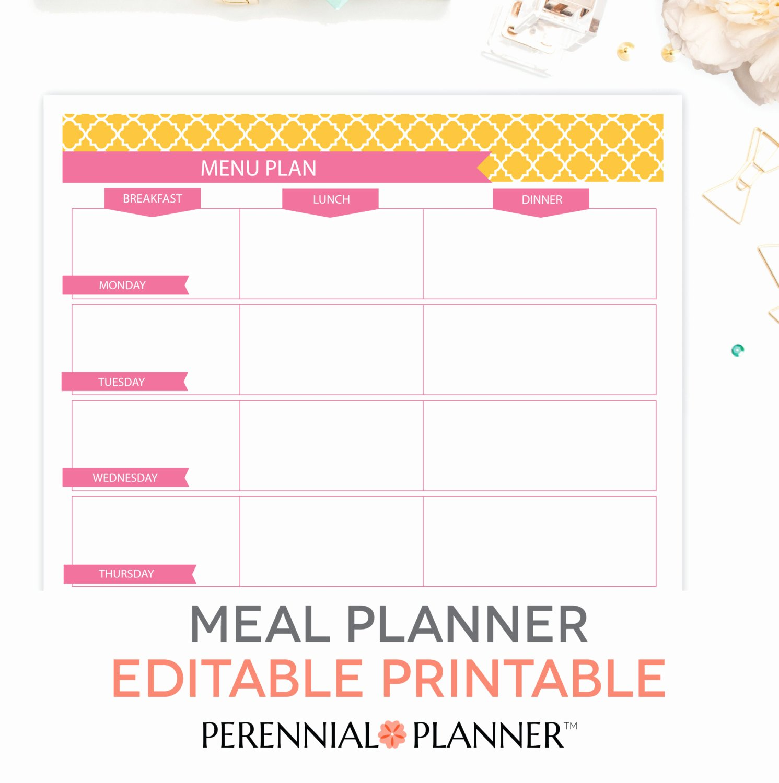 Menu Plan Weekly Meal Planning Template Printable Editable
