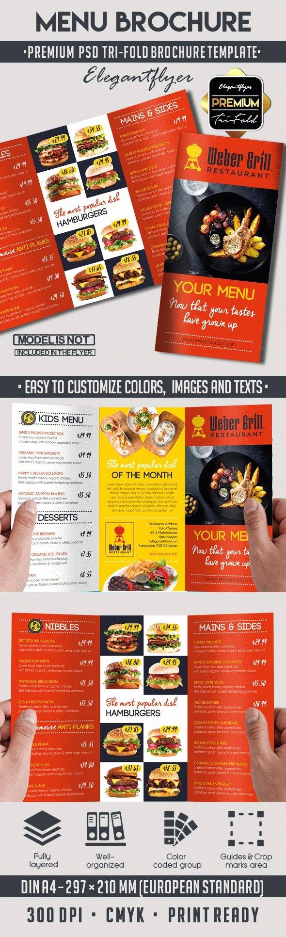 Menu – Premium Tri Fold Psd Brochure Template – by