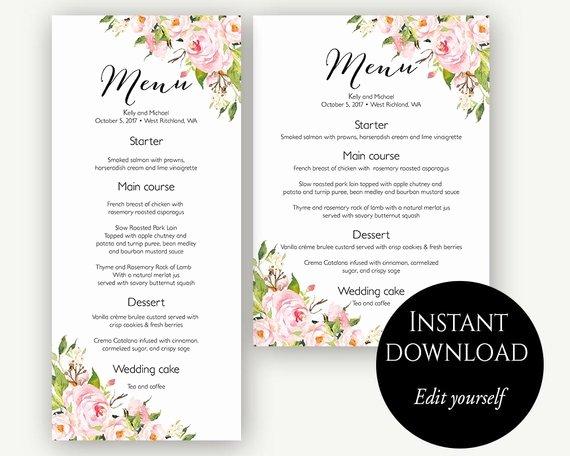 Menu Template Wedding Menu Menu Cards Editable Menu Menu