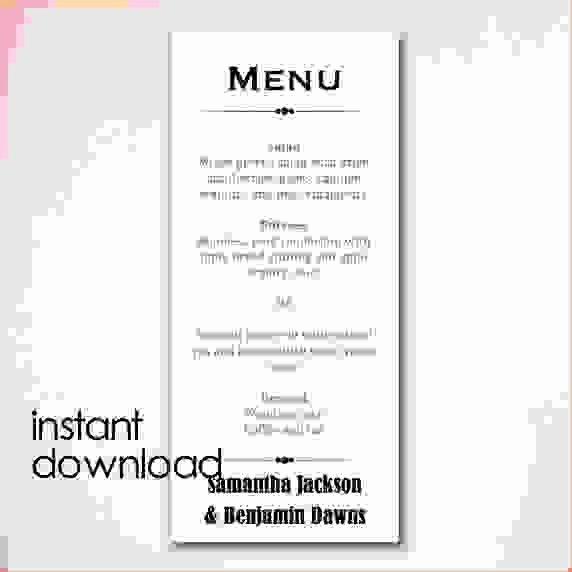 menu template word free