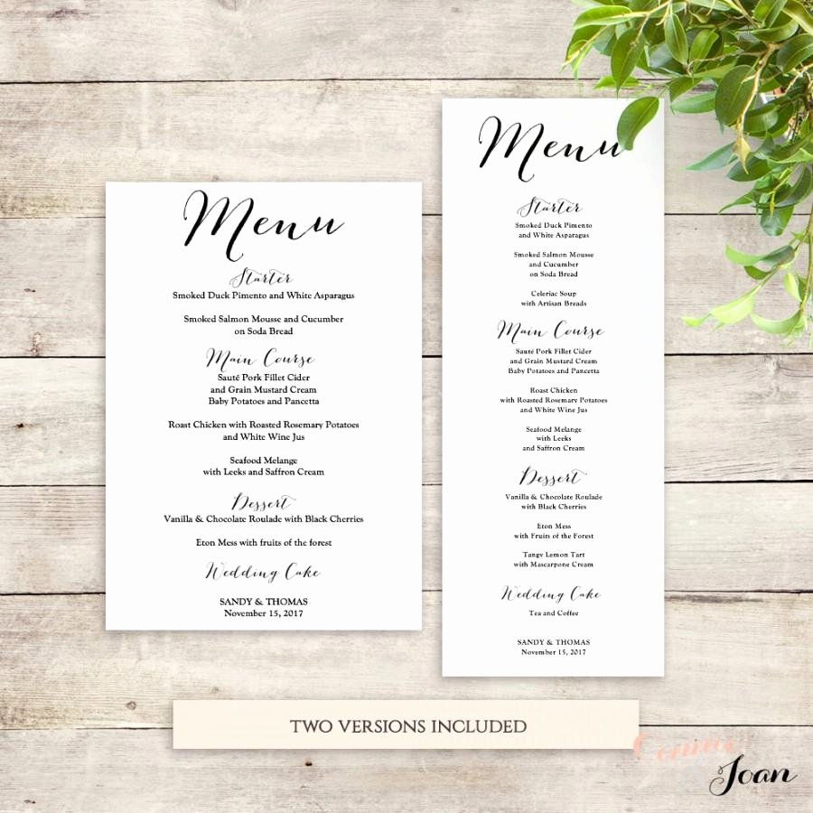 Menu Wedding Menu Template