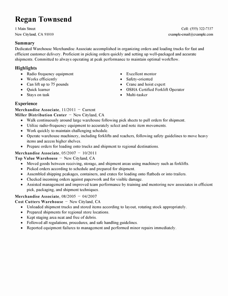 Merchandise associate Resume Sample