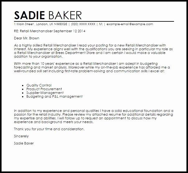 Merchandiser Cover Letter Sample
