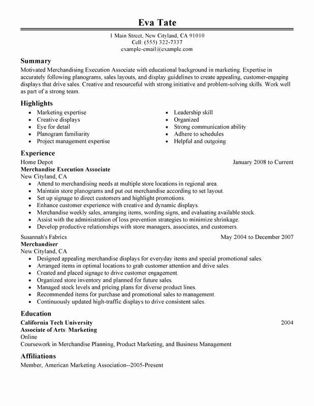 Merchandising Execution associate Resume Examples Created