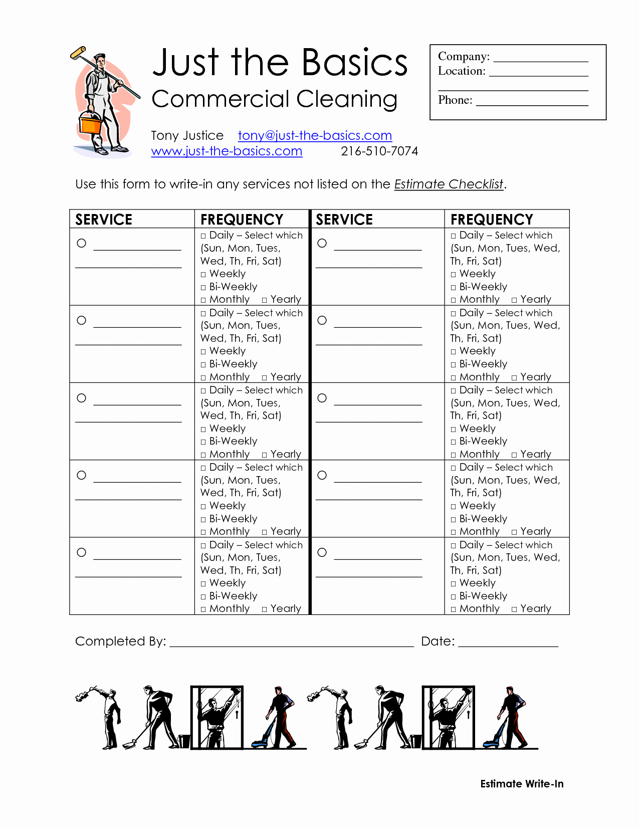Mercial Cleaning Checklist Printable