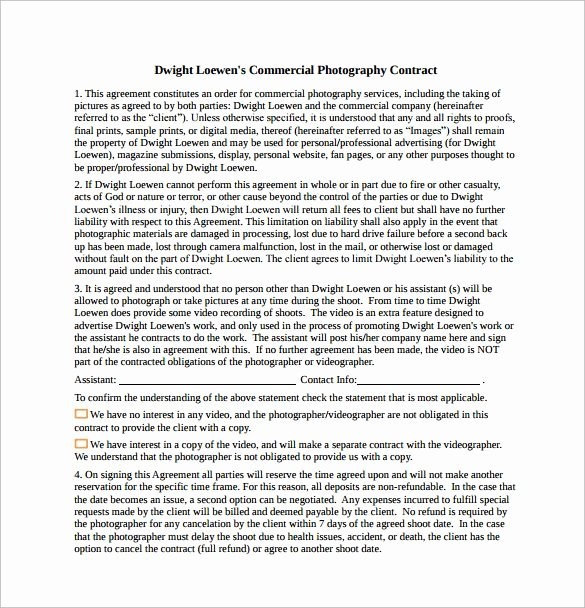 Mercial Graphy Contract Free Download In Pdf