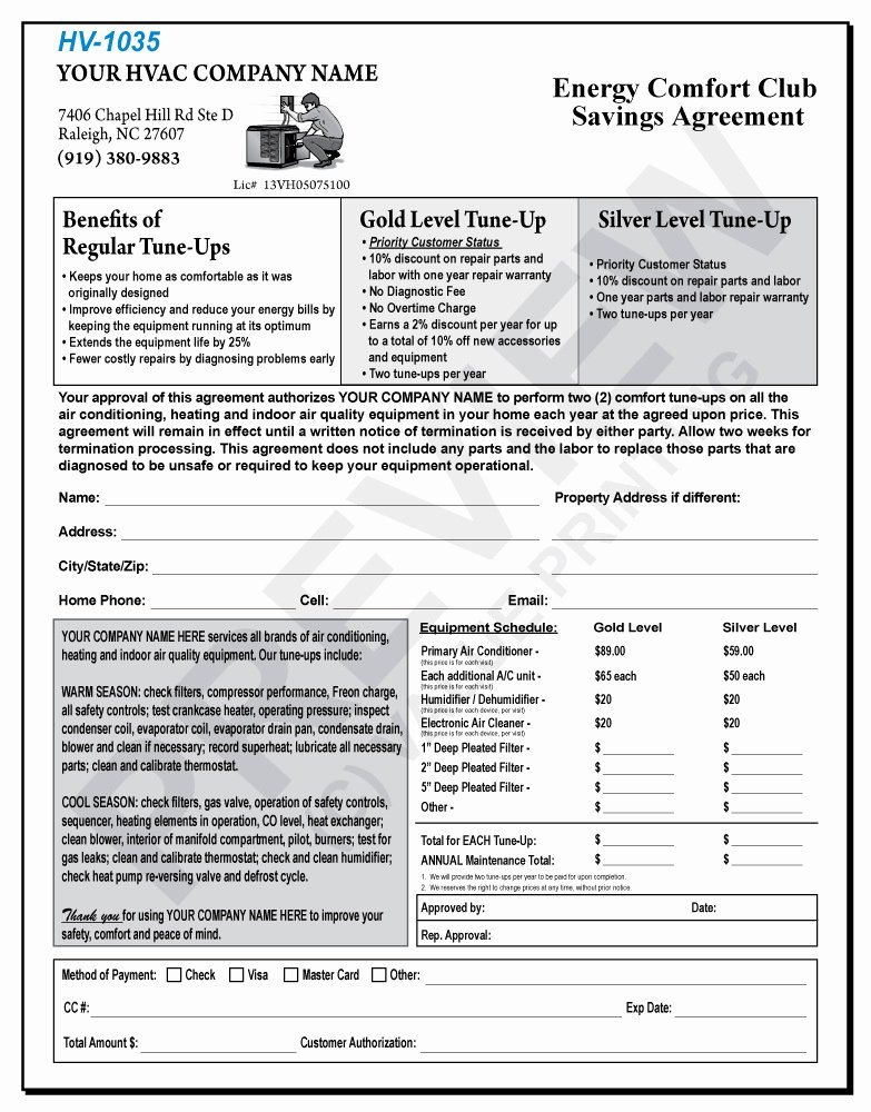 Mercial Hvac Maintenance Agreement forms Templates