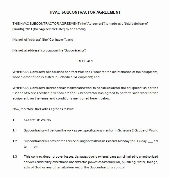 Mercial Hvac Maintenance Contract Template Templates