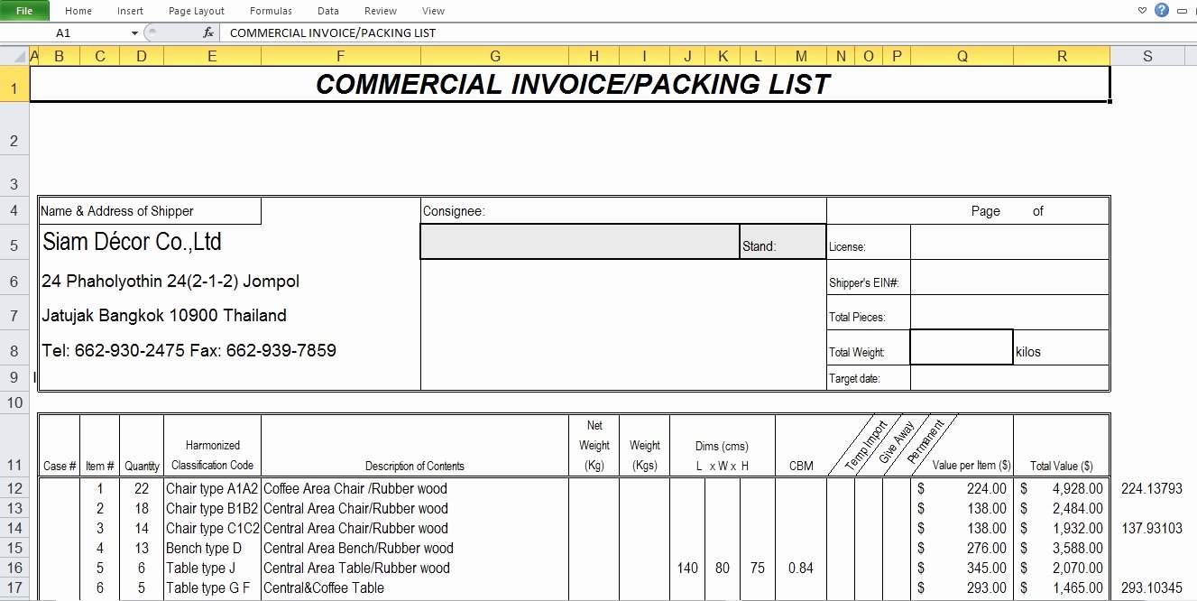 Mercial Invoice Sample Template Excel Tmp