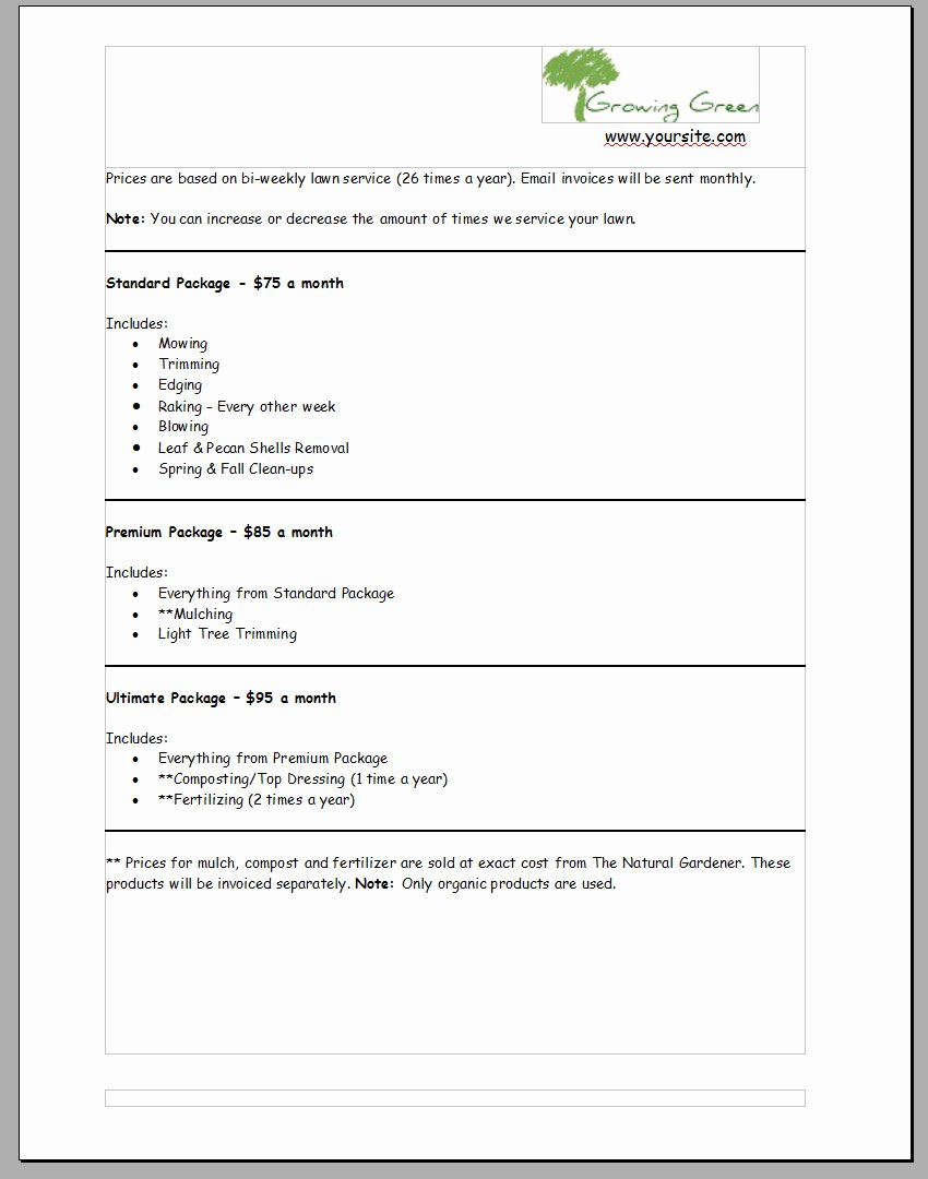 mercial lawn care bid template