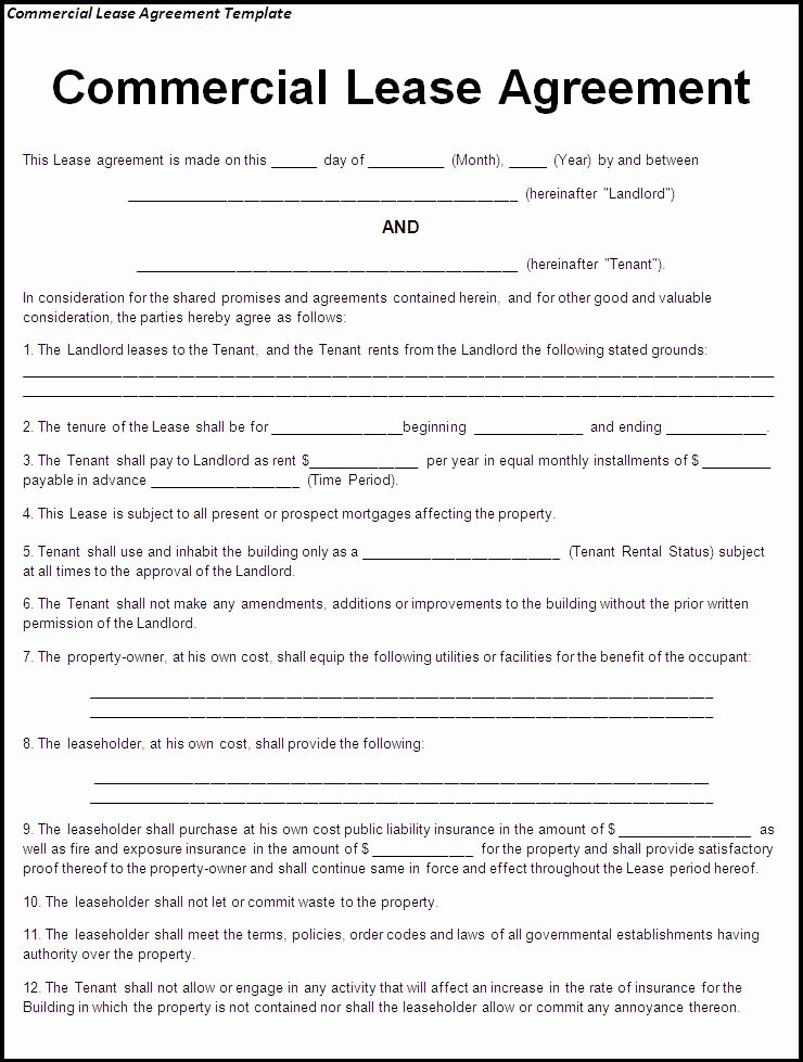 Mercial Lease Agreement Sample Free Printable Documents