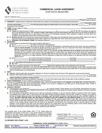 Mercial Lease Agreement Template Free Download Create