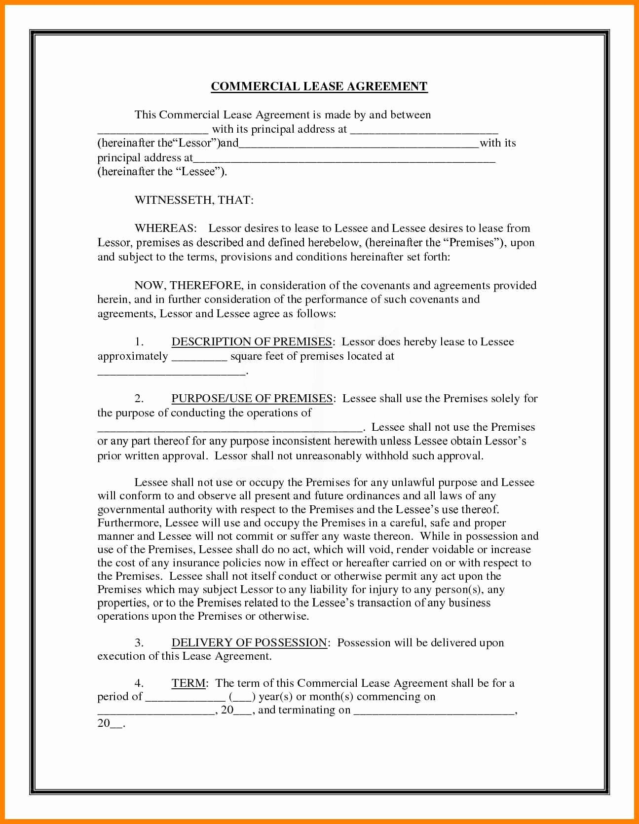 Mercial Lease Agreement Template Free