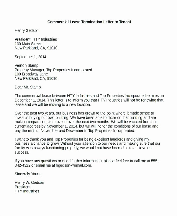 Mercial Lease Termination Letter to Tenant why is