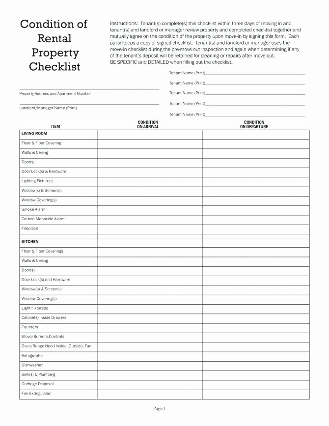 Mercial Property Maintenance Checklist Template