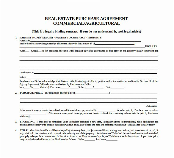 Mercial Real Estate Contract Template Templates